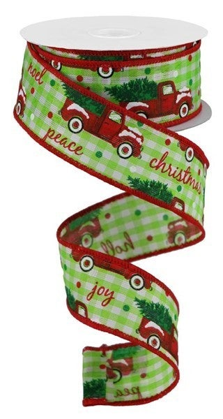 "1.5""X10yd Christmas Trucks/Check Color: Spring Grn/Red/Green"