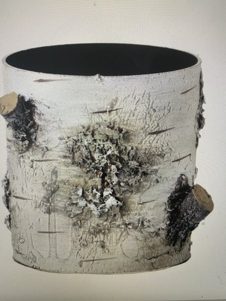 "5""H X 4.5""D PLASTIC BIRCH BARK CONTAINER"
