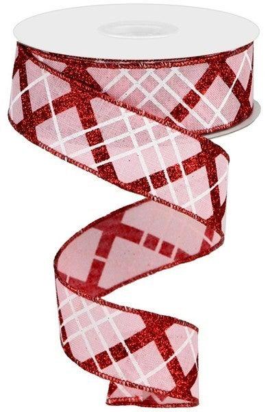 """1.5""""X10yd Glitter Diagonal Plaid/Royal Pale Pink"""