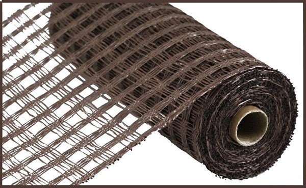 "10""X10YD POLY BURLAP CHECK MESH Chocolate"