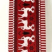 "Red Linen/White Deer Black Icons Dash Edge 2.5""x10yd"