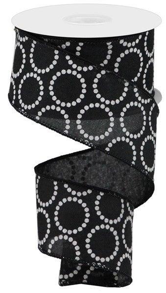 "2.5""X10yd Pearl Beads On Royal Black"