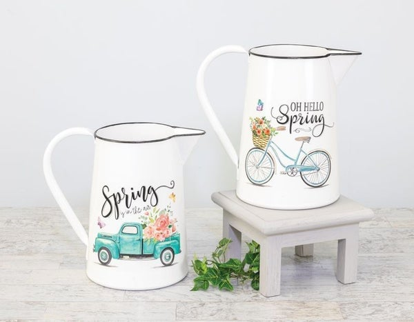 Spring Cycle Truck Decorative Pitcher
