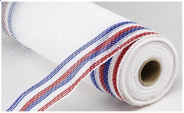 "10.5""X10YD FAUX JUTE/PP/BORDER STRIPE Color: Red/White/Blue On White"