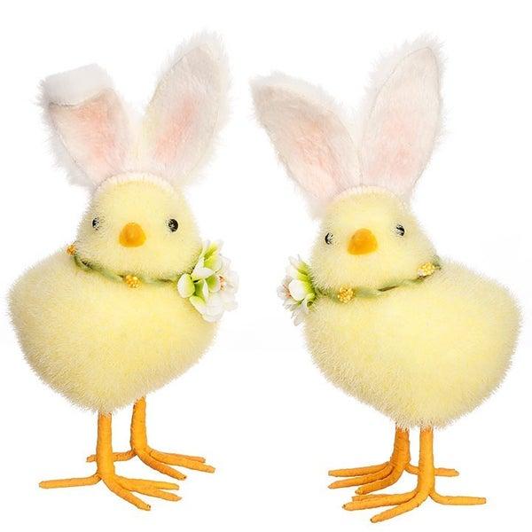 """7.5"""" Chicks W/ White Rabbit Ears"""