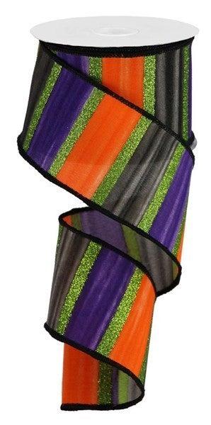 "2.5""X10yd Watercolor Stripes/Royal Color: Purple/Black/Orange/Lime"