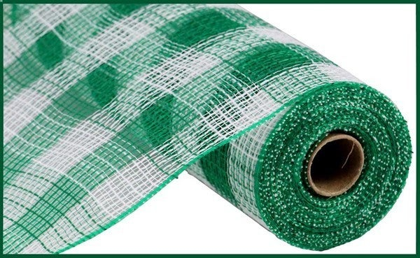 "10.5""X10yd Faux Jute/Pp Small Check White/Emerald Green"
