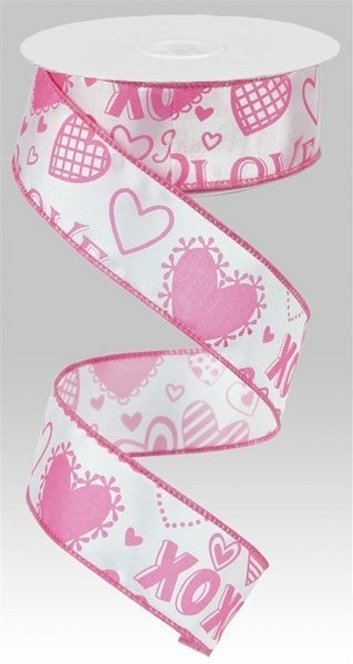 """1.5""""X10yd Valentine Words W/Hearts Color: White/Pink"""