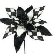 Harlequin Poinsettia Pick W12xH13 Black/white