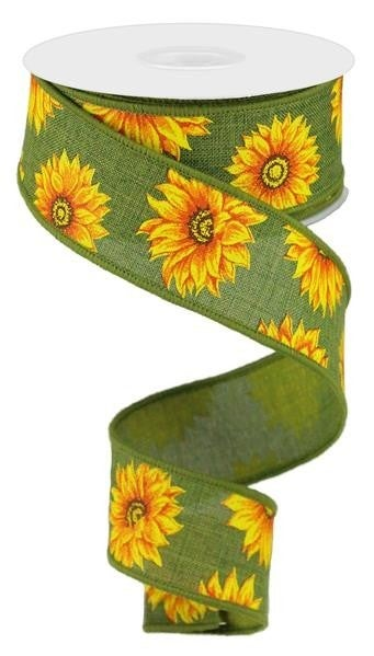 "1.5""X10YD MULTI SUNFLOWERS/ROYAL GREEN/YLW/ORNG/RUST/BRN"