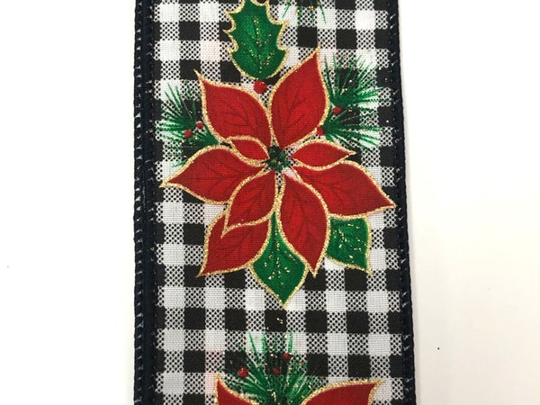 "Black-White Plaid/Bold Poinsettia 2.5""x10yd"