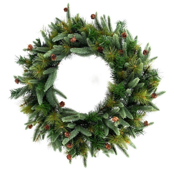 "STONE HILL WREATH 24"" 50 clear lights"