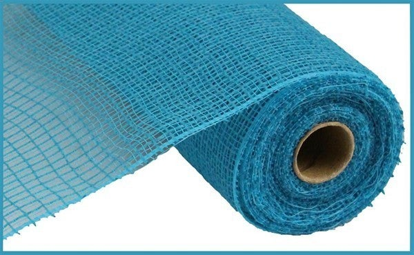 "10.5""X10yd Faux Jute/Pp Check Turquoise"