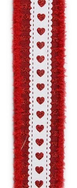 "1.5""X10yd Hearts W/Stripe/Drift Burgundy/Red/White"