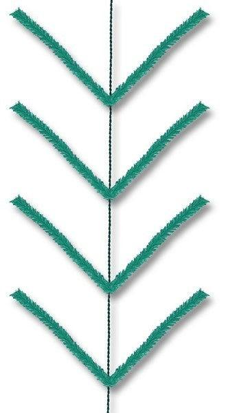 9' Pencil Work Garland X22 Ties Emerald Green