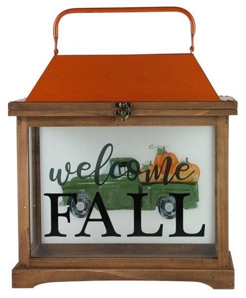 "15""H Welcome Fall W/Truck Lantern"