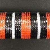 "Orange Fabric Black Metallic White Striped Mesh 10""x10yd"