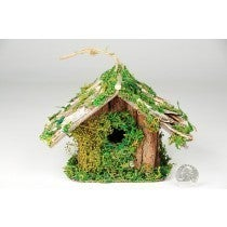 BIRDHOUSE A-SHAPE BIRCH/BARK/MOSS