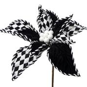 Velvet Poinsettia w Pattern DIA10xH10 Black/White