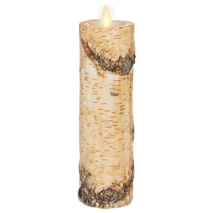 """2 """"X8 """" MOVING FLAME BIRCH WRAPPED PILLAR CANDLE Ivory"""
