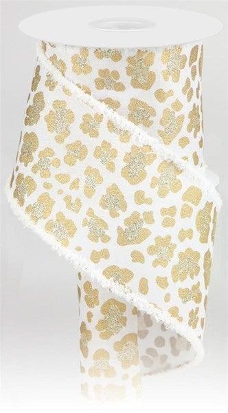 "4""X10yd Leopard Print/Royal/Drift Color: White/Gold/Lt Gold"