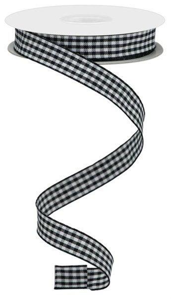"0.625""X10yd Mini Gingham Check Ribbon Black/White"
