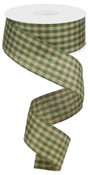 """1.5""""X10yd Primitive Gingham Check Moss Green"""