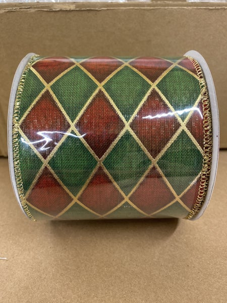 "4""x10yd Harlequin Check Wired Ribbon Red/Green/Gold"