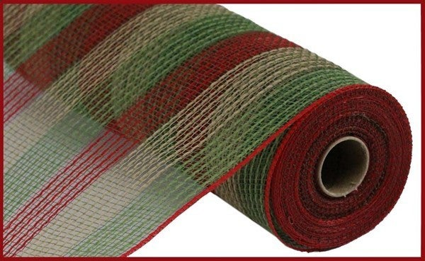 """10.5""""X10yd Pp/Faux Jute Small Stripe Color: Moss/Red/Natural"""