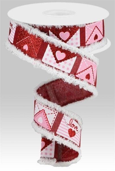 "1.5""X10yd Love Letters/Royal/Drift Burgundy"
