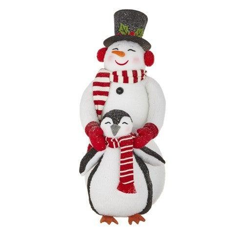"26"" SNOWMAN HUGGING PENGUIN"