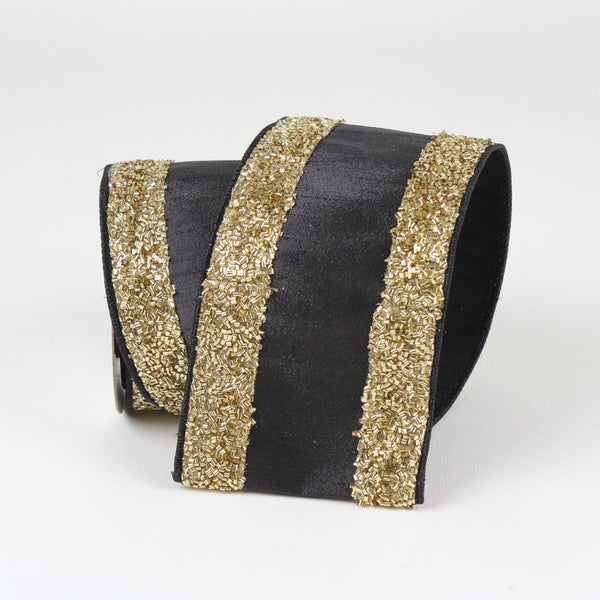 "TINSEL BORDERS (PREORDER) - 4"" X 10YD / BLACK AND GOLD"
