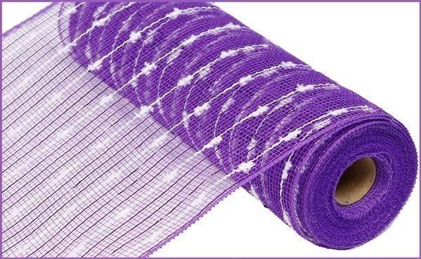 "10.5""X10YD METALLIC COTTON BALL MESH Purple/wh"