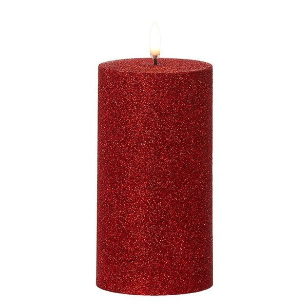"3.25"" X 7"" Red Glittered Pillar Candle"
