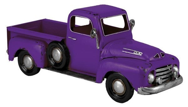 "16""L X 6.5""H Metal Truck Planter Purple"