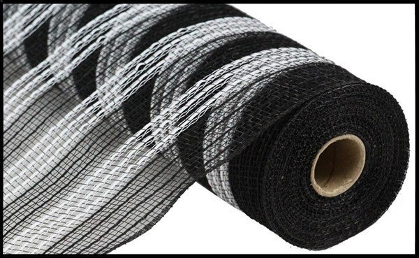 "10.5""X10YD METALLIC/FAUX JUTE/PP STRIPE Color: Black/White"