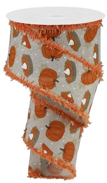 "2.5""X10yd Pumpkin Pie/Royal/Drift Color: Lt Nat/Orange/Brown"
