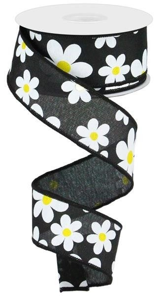 "1.5""X10YD FLOWER DAISY PRINT ON ROYAL BLACK/WHITE/YELLOW"