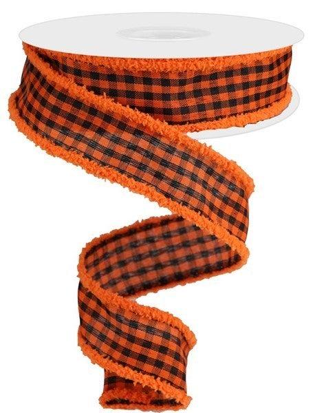 "1.5""X10yd Woven Gingham Check/Drift Orange/Black"