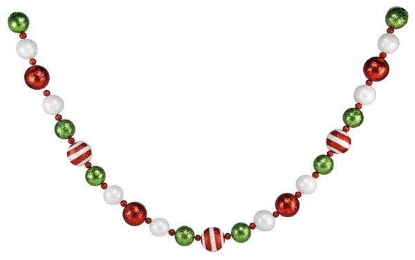5'L Glitter Stripe Ball Garland red/lime/white