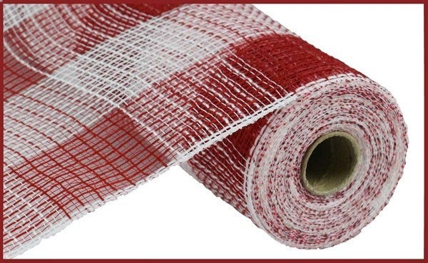 "10.5""X10yd Fabric Mesh Faux Jute/Pp Large Check Red/White"