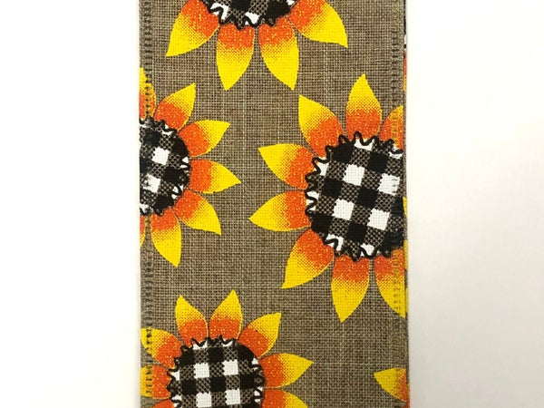 """Nat/Linen 2.5""""x50yd Sunflower with Blk/Wh Plaid Centers"""