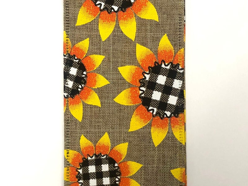 "Nat/Linen 2.5""x50yd Sunflower with Blk/Wh Plaid Centers"