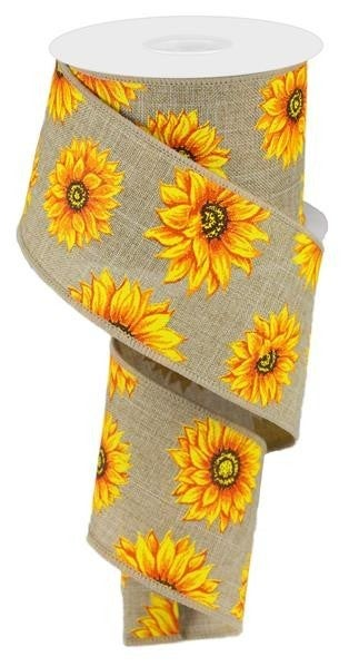 "2.5""X10YD MULTI SUNFLOWERS/ROYAL BEIGE/YLW/ORNG/RUST/BRN"