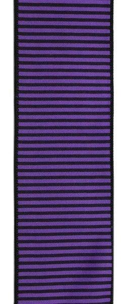 """2.5""""X10yd Horizontal Thin Stripes On Pg Purple/Black"""