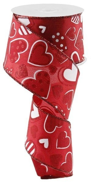 """2.5""""X10yd Patterned Hearts Red"""
