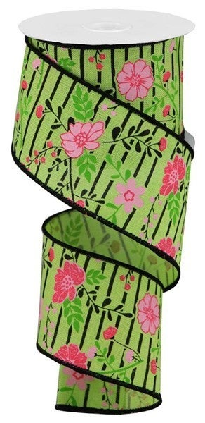 """2.5""""X10yd Floral Lines On Royal Bright Green/Multi Pink"""