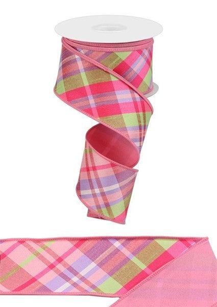 "2.5""X10yd Diagonal Plaid/Pg Fused Back Color: Pink/Lav/Sprg Grn"