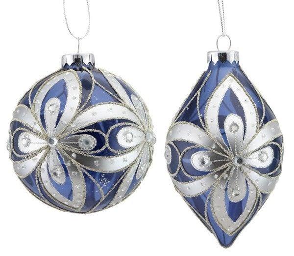 "Set of 2 4""-5.5"" Glass Ball/Finial Orn Smoke Blue/Silver"