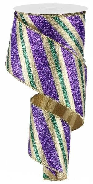 "2.5""X10yd Diagonal Glitter Stripe  Mardi Gras"